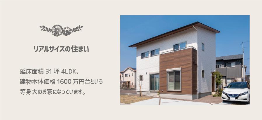 延床面積31坪4LDK、 建物本体価格1600万円台という 等身大のお家になっています。